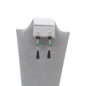 Jewelry - Vintage Elegant Black and Green Glass Bead Earring